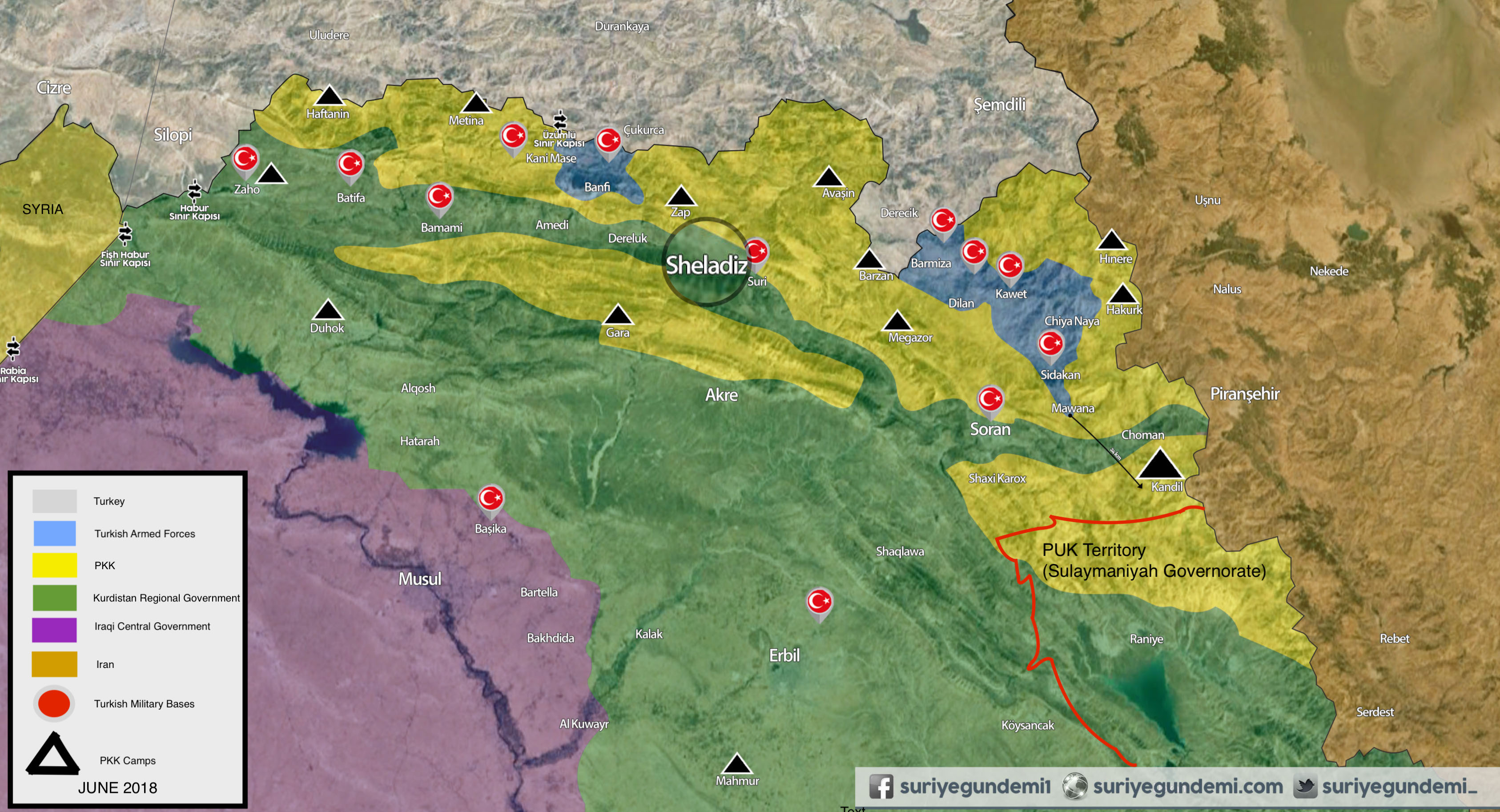 Map with overview of Turkish military presence in Iraq